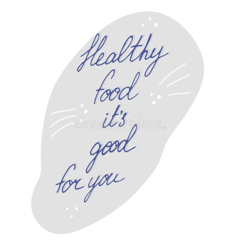 Handgeschriebene Beschriftung der gesunden Nahrung vektor abbildung