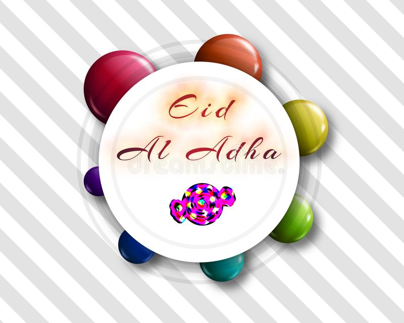 Handgeschriebene Beschriftung Eid al-Adhas mit Süßigkeitsform für eid Mubar lizenzfreie stockfotografie