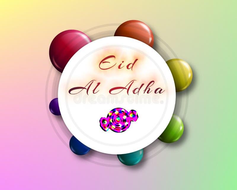 Handgeschriebene Beschriftung Eid al-Adhas mit Süßigkeitsform für eid Mubar lizenzfreies stockbild