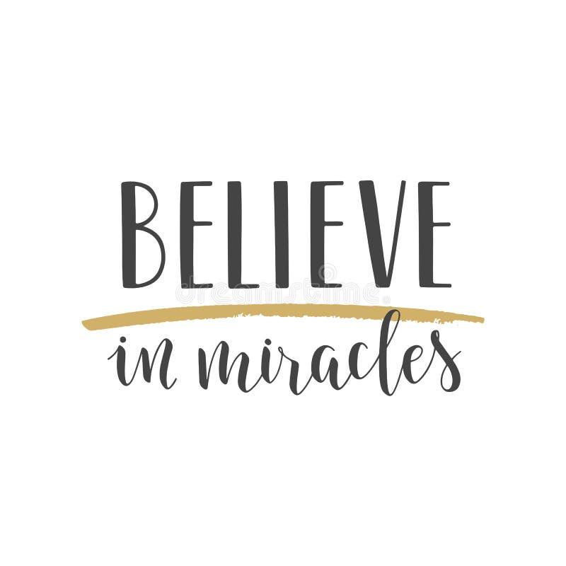 Handgeschriebene Beschriftung von Believe an Wunder auf weißem Hintergrund stock abbildung