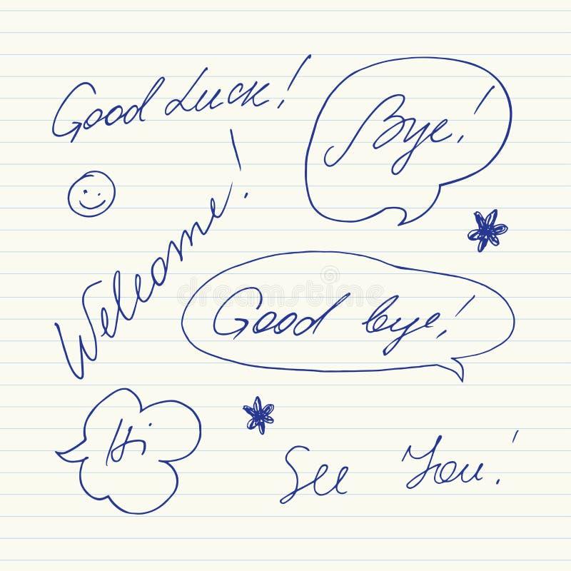 Handgeschriebene kurze Phrasen Gutes Glück, Auf Wiedersehen, Willkommen, Tschüss, hallo, sehen Sie vektor abbildung