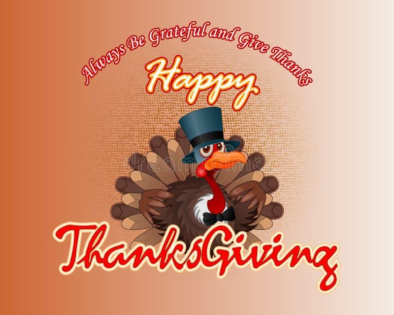 Handgeschriebene Mitteilung der glücklichen Danksagung und Karikatur eines frechen Truthahns, der einen Zylinder trägt lizenzfreie abbildung