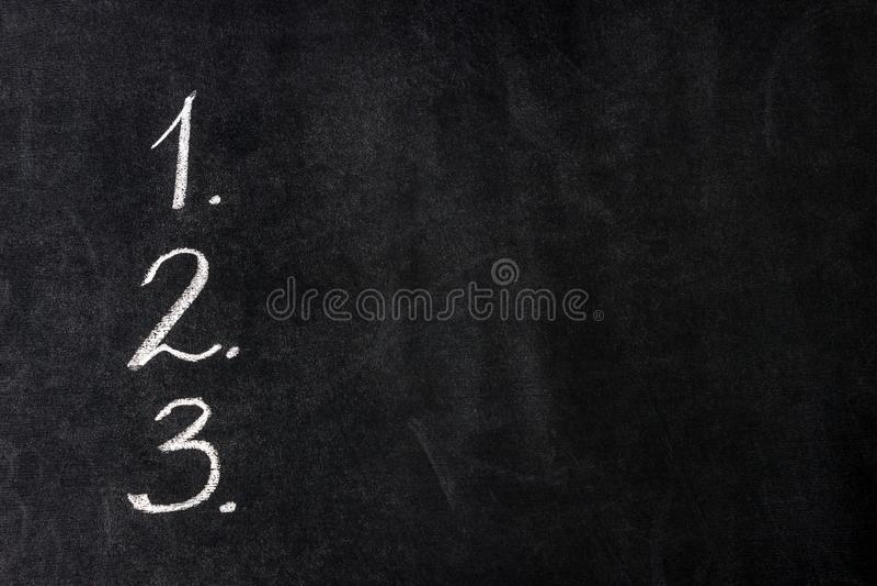 Handgeschriebene Zahlen Konzeptziele listen auf, Motiv, Entscheidung, Wahl, Entschließung stockfoto