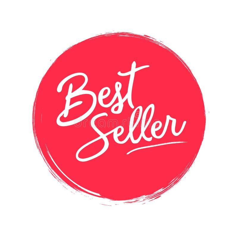 Handgeschriebener Aufkleber des Bestsellers auf rotem Kreis mit Schmutzbürsten-Anschlaghintergrund Kreative Typografie für Geschä vektor abbildung