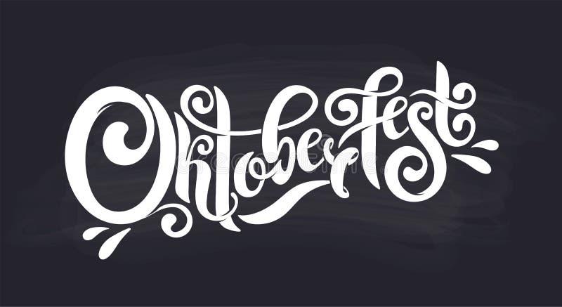 Handgeschriebener Beschriftungstitel Oktoberfest Oktoberfest-Typografietitelvektordesign Kreidefirmenzeichen vektor abbildung