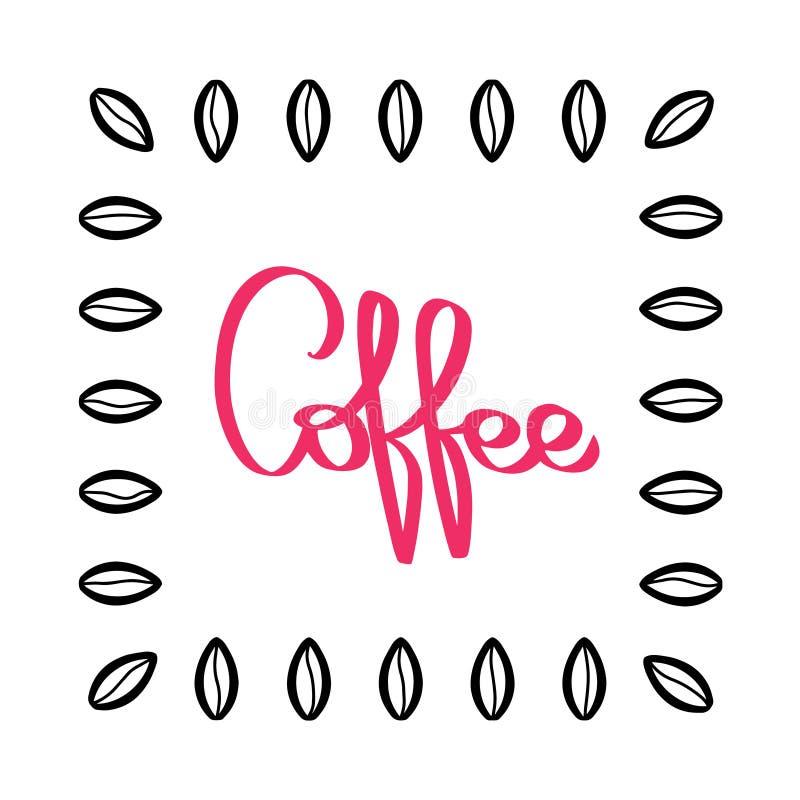 Handgeschriebener Kaffeemustervektor Hand gezeichnete Kaffeebohnen Schwarze und rote Illustration Bean-Beschaffenheit auf weißem  stock abbildung