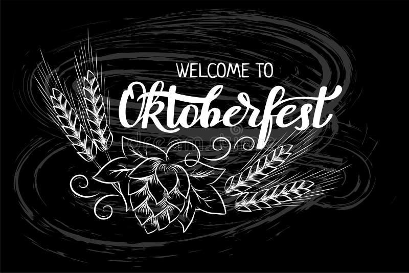 Handgeschriebener Text München-Bier-Festival Oktoberfest mit Linie Kunstillustration von Weizenköpfen und -Hopfen Kreidebeschrift lizenzfreie abbildung