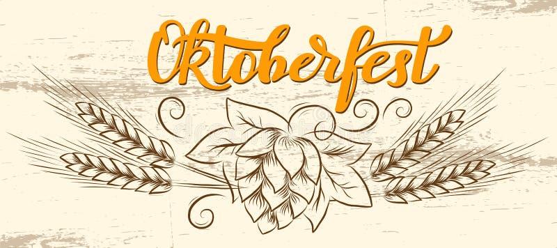 Handgeschriebener Text München-Bier-Festival Oktoberfest mit Linie Kunstillustration von Weizenköpfen und -Hopfen auf hölzernem B lizenzfreie abbildung