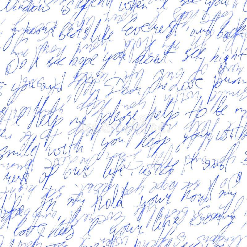 Handgeschriebener Text mit Liebeswörtern Nahtloses Muster Auch im corel abgehobenen Betrag vektor abbildung