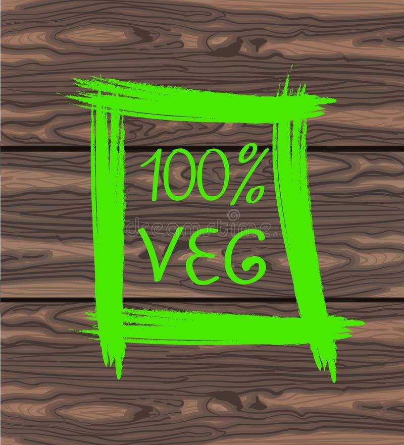 Handgeschriebener Text von 100 VEG in quadratische Hand gezeichnetem Rahmen Vektorillustration auf braunem Hintergrund vektor abbildung