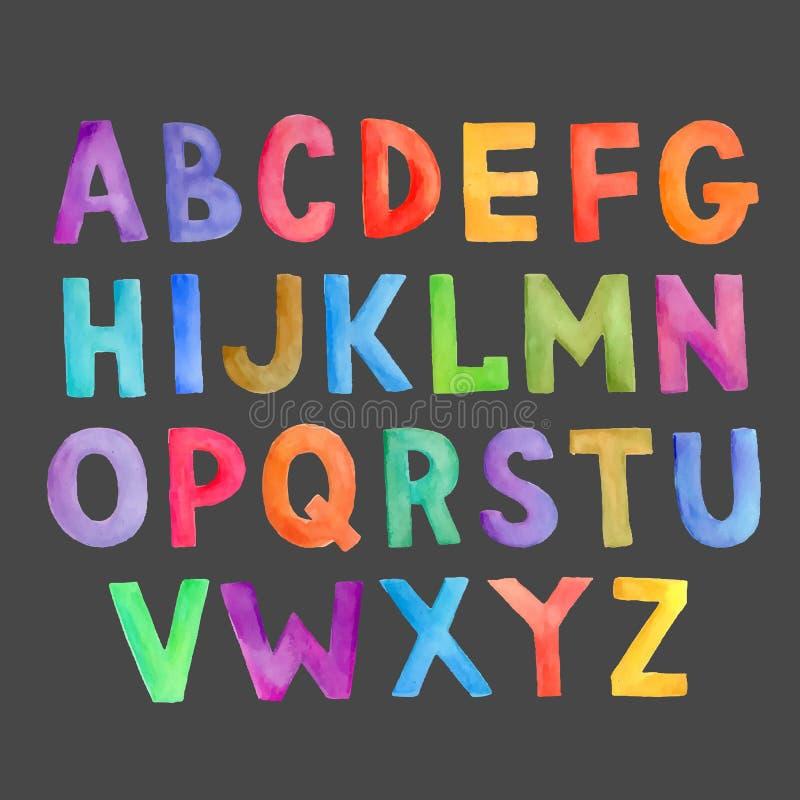 Handgeschriebenes Alphabet des bunten Vektors des Aquarells stock abbildung