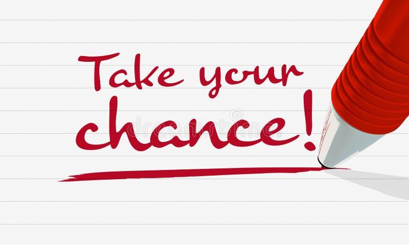 Handgeschriebenes Text ` nehmen Ihr Möglichkeit `, unterstrichen auf gezeichnetem Papier, roter Bleistift stockfoto