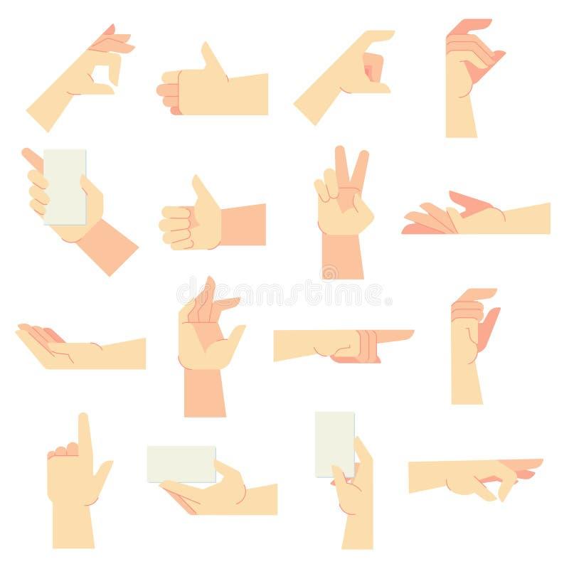 Handgesten Handzeichen zeigen, Frauenhände und Vektorkarikatur-Illustrationssatz in der Hand halten stock abbildung