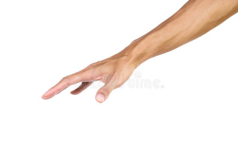 Handgesten som en gömma i handflatan trycker på ner isolerat på vit bakgrund med den snabba banan royaltyfria bilder