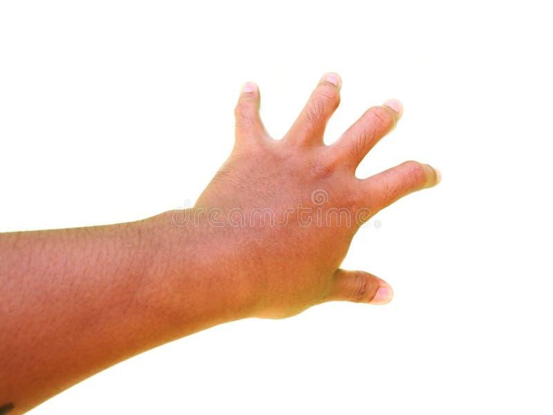 Handgester, handtecken av de fem fingrarna tryckte på något arkivbild