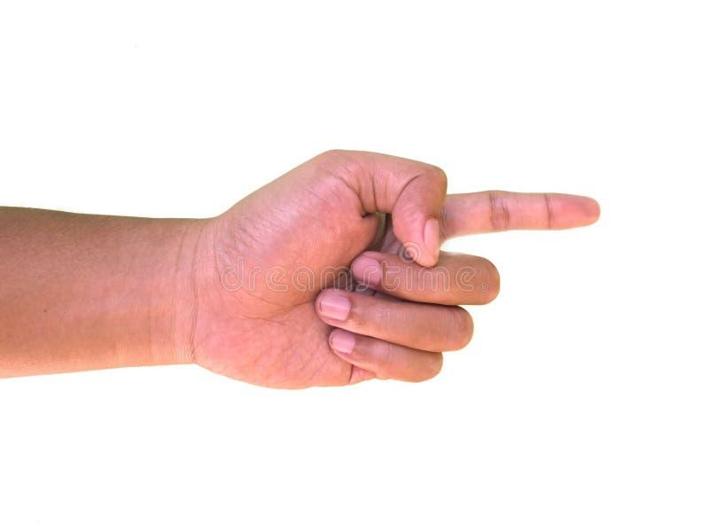 Handgester, handtecken av pekfingret som pekar något royaltyfri fotografi