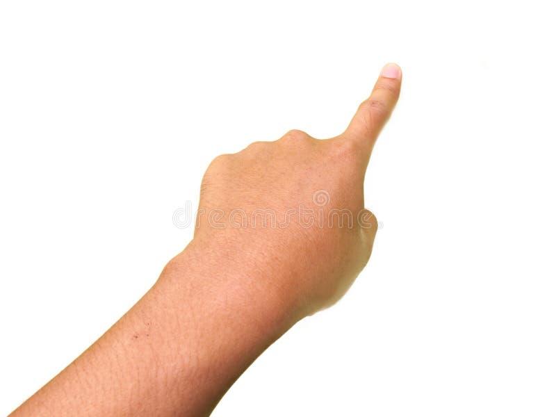 Handgester, pekfinger som trycker på eller pekar något arkivbild