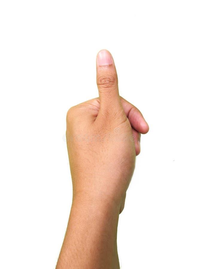 Handgester, tummefinger som är rörande eller trycker på något arkivfoton