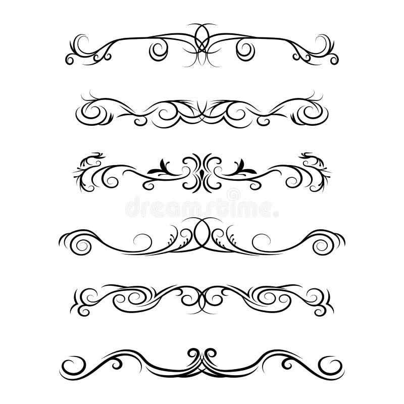 Handgetrokken vectorafscheidingen Decoratieve zwenklijnen, randen en krommel Ontwerpelementen 4 stock illustratie