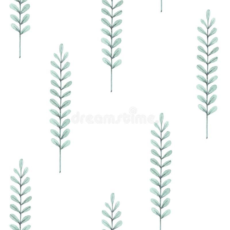 Handgetrokken waterkleur naadloos patroon met bladeren en twijgen Groene planten op een witte achtergrond Ontwerp voor stof, beha royalty-vrije illustratie