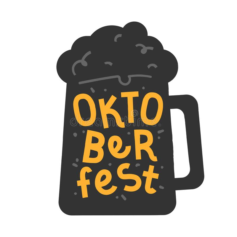Handgezeichnete Illustration in Schwarz- und Gelbfarben mit Bierkrug und handgeschriebene Schrift für das Oktoberfest-Fest. vektor abbildung