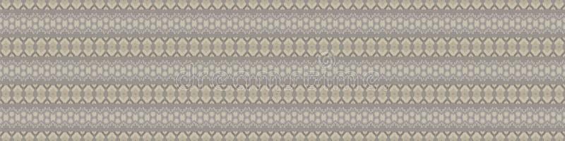 Handgezeichnetes, ethnisch horizontales Streifen nahtloses Grenzmuster Moderne Linien in hausgemachten Brauntönen, Grautönen, Ecr stock abbildung