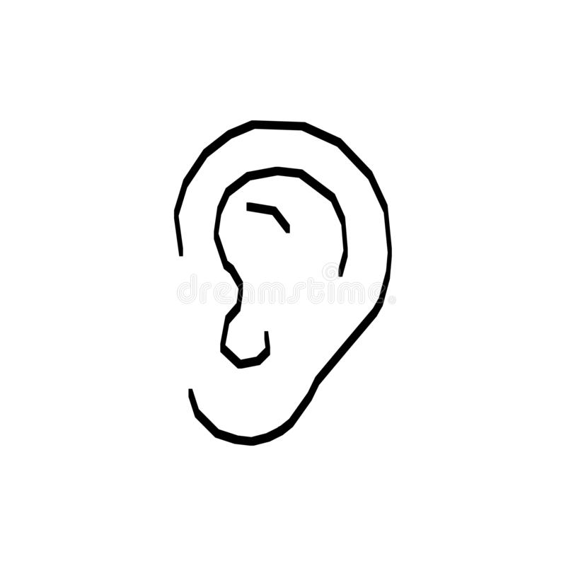 Handgezeichnetes Ohrenzeichen Zeichnen von Vector-Listen-Elementen vektor abbildung