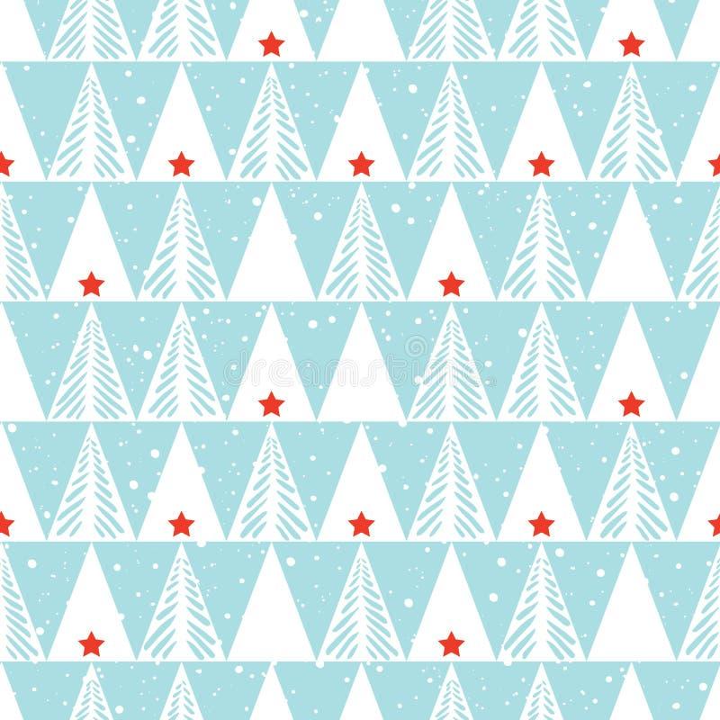 Handgezogene abstrakte Weihnachtsbäume, Schnee, nahtloser Musterhintergrund des Dreieckvektors Winterurlaub-Skandinavier lizenzfreie abbildung
