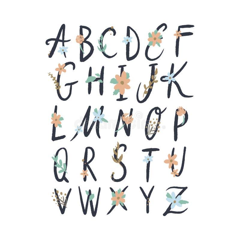 Handgezogene Blumenalphabetbuchstaben, Vektorclipart Gut f?r die Heirat von Aufklebern und andere vektor abbildung