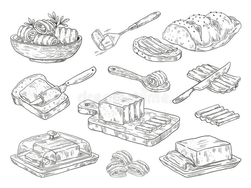 Handgezogene Butter Kulinarischer Bestandteil des Skizzenfrühstücks, gezogene Zusammensetzungen mit Brot und Butter Vektorgekritz lizenzfreie abbildung