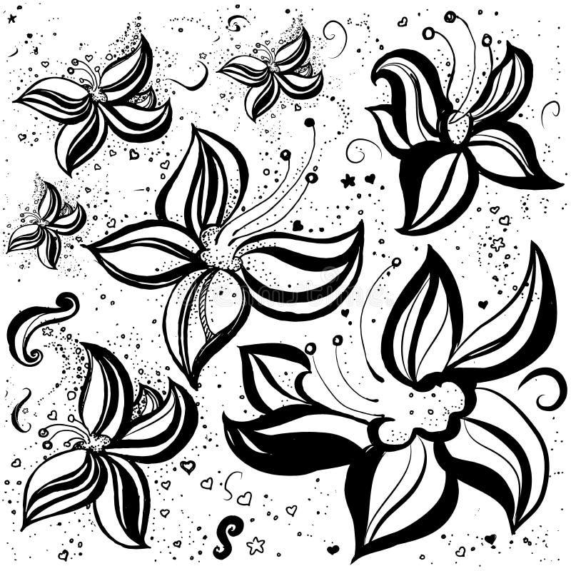 Handgezogene dunkle Lilie Linie Kunst Gekritzelkunst lizenzfreie abbildung