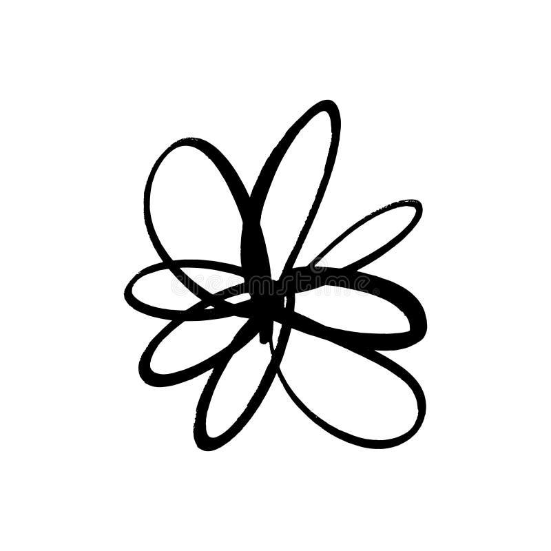 Handgezogene einfache B?rsten-Tintenblume Schmutzartelement des modernen Entwurfs Schwarzes Vektorsymbol vektor abbildung