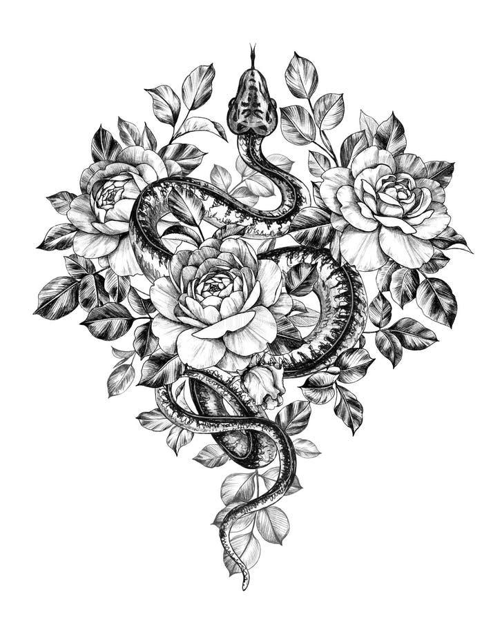 Handgezogene einfarbige Kriechenpythonschlange mit Rosen stock abbildung