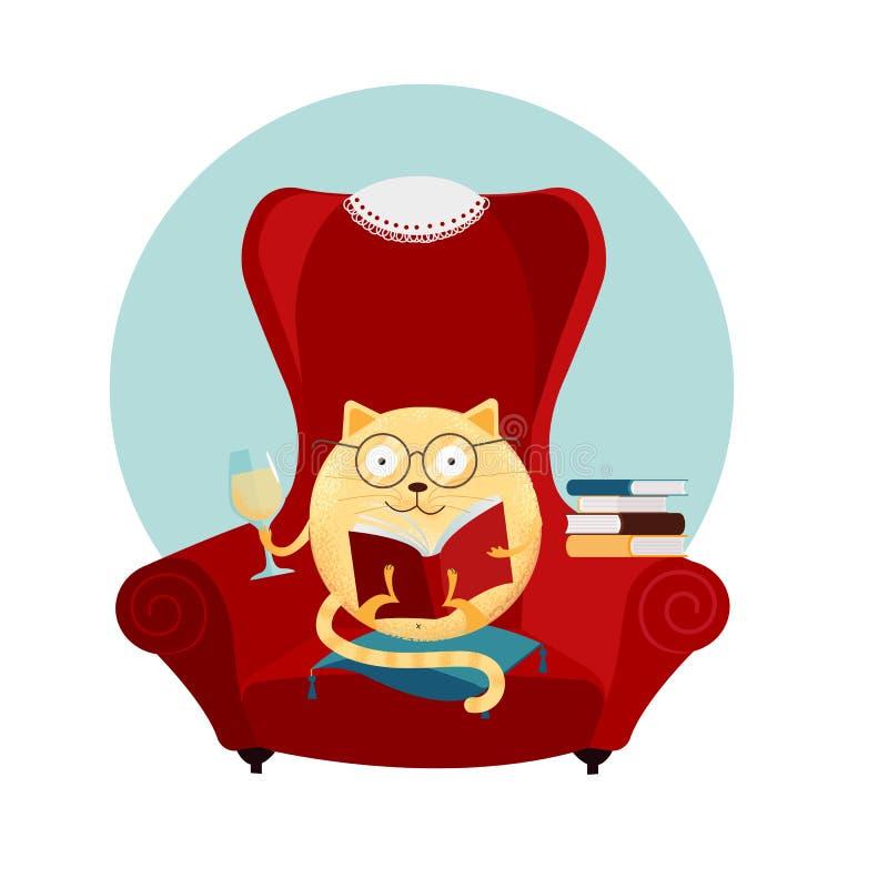 Handgezogene Fantasie-Rundenkatze, die im großen roten Lehnsessel und im Ablesenbuch sitzt Entspannungslesekonzept Nette Miezekat stock abbildung