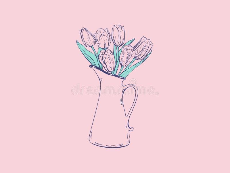 Handgezogene flache Illustration mit Vase und Tulpen auf rosa Hintergrund lizenzfreie abbildung