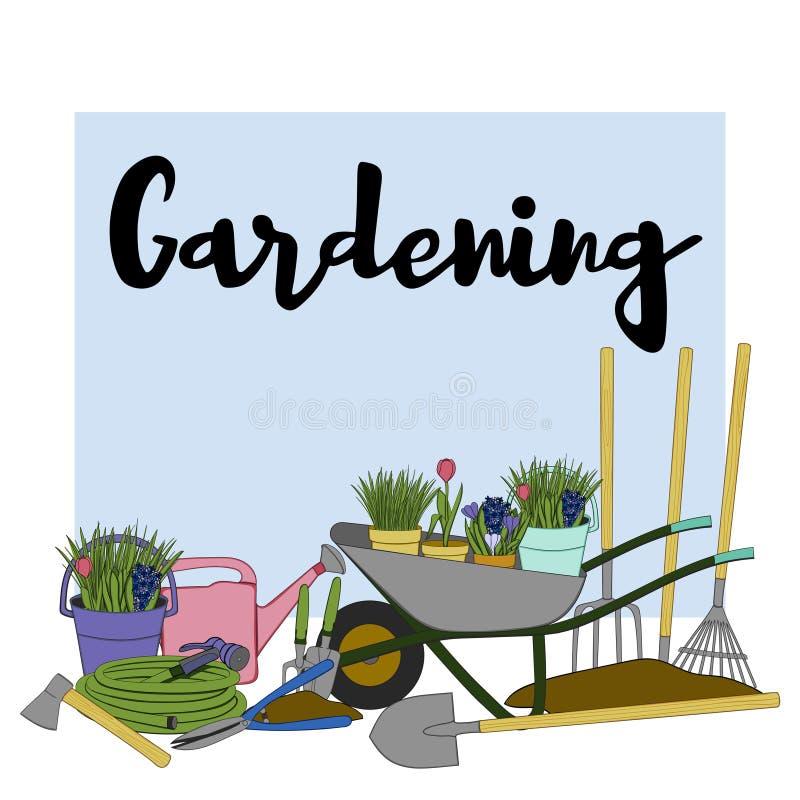 Handgezogene Gartenbanner mit Werkzeugen, Pflanzen, Blumen, Cutter, Karren, Wasserkanister, Schaufel, Rake und Phrase stockfotos