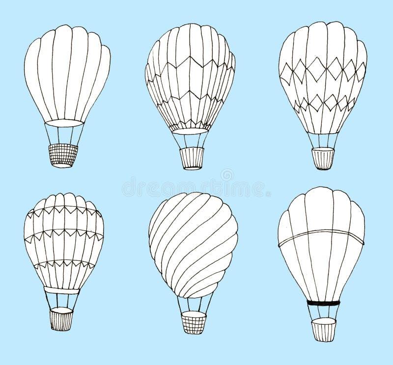 Handgezogene Heißluft baloons eingestellt auf blauen Hintergrund lizenzfreie abbildung