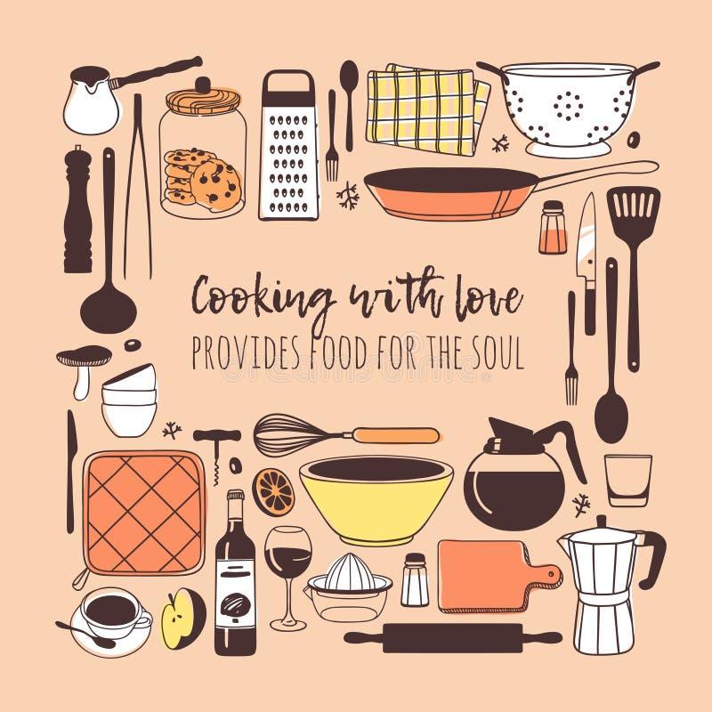 Handgezogene Illustration, die Werkzeuge, Teller, Nahrung und Zitat kocht Kreatives Tintenkunstwerk Tatsächliche Vektorzeichnung  lizenzfreie abbildung