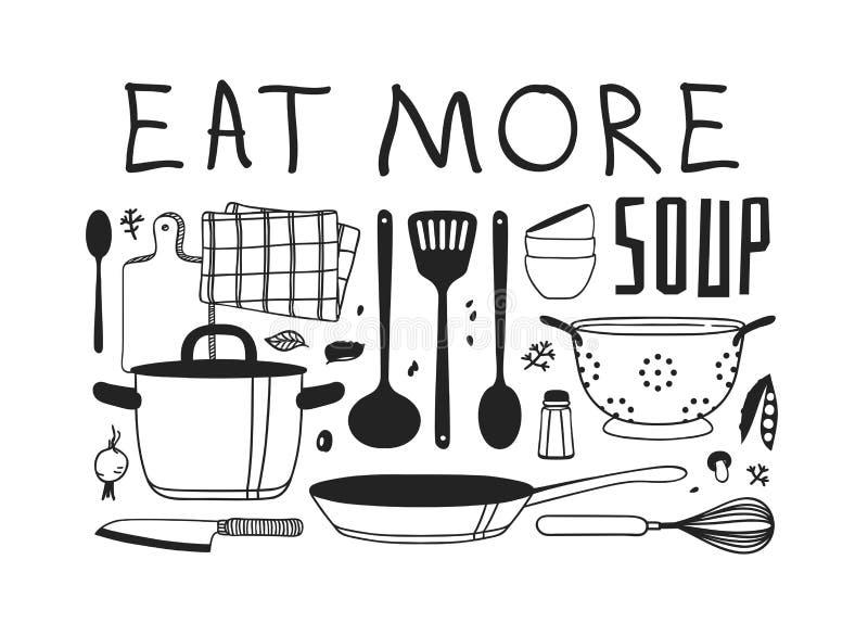 Handgezogene Illustration, die Werkzeuge, Teller, Nahrung und Zitat kocht Kreatives Tintenkunstwerk Tatsächliche Zeichnung Küchen lizenzfreie abbildung