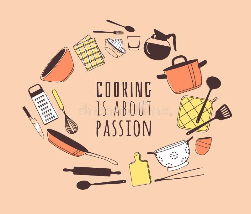 Handgezogene Illustration, die Werkzeuge und Teller und Zitat kocht Kreatives Tintenkunstwerk Tatsächliche Vektorzeichnung Küchen vektor abbildung
