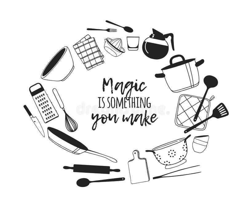 Handgezogene Illustration, die Werkzeuge und Teller und Zitat kocht Kreatives Tintenkunstwerk Tatsächliche Vektorzeichnung Küchen lizenzfreie abbildung