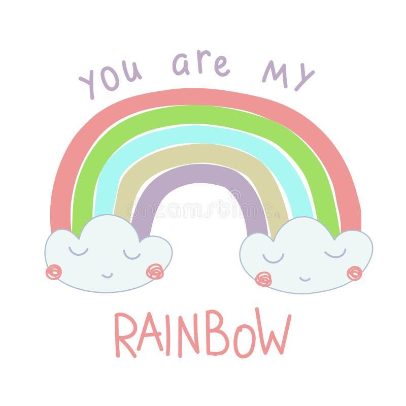 Handgezogene Illustration eines Regenbogens aus den Wolken heraus stock abbildung