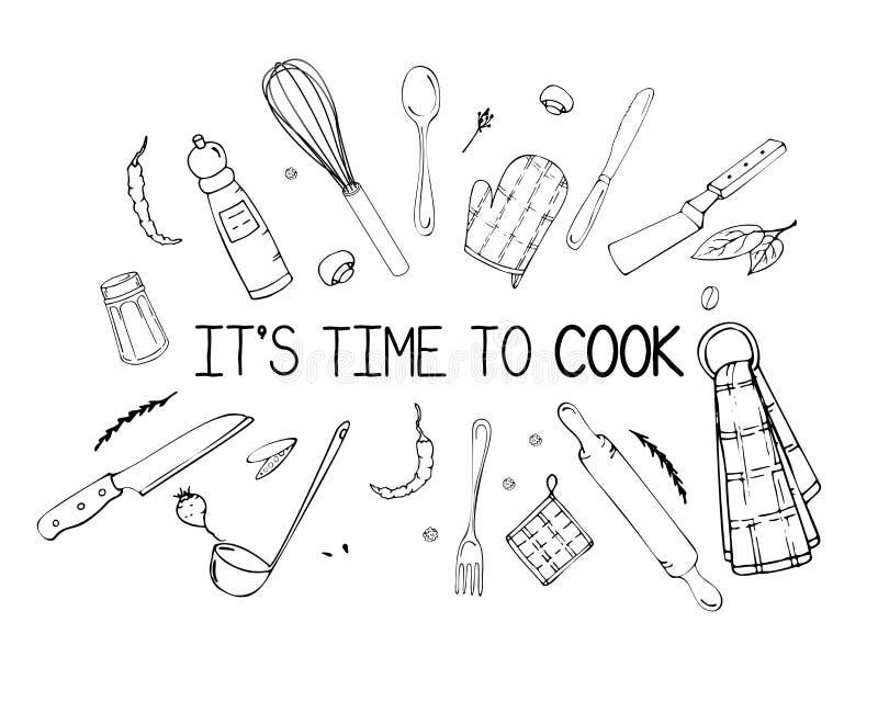 Handgezogene Illustration mit Küchen-Geräten Tatsächliche Vektorzeichnung von coocking Werkzeugen und von Zitat Kreative Gekritze lizenzfreie abbildung