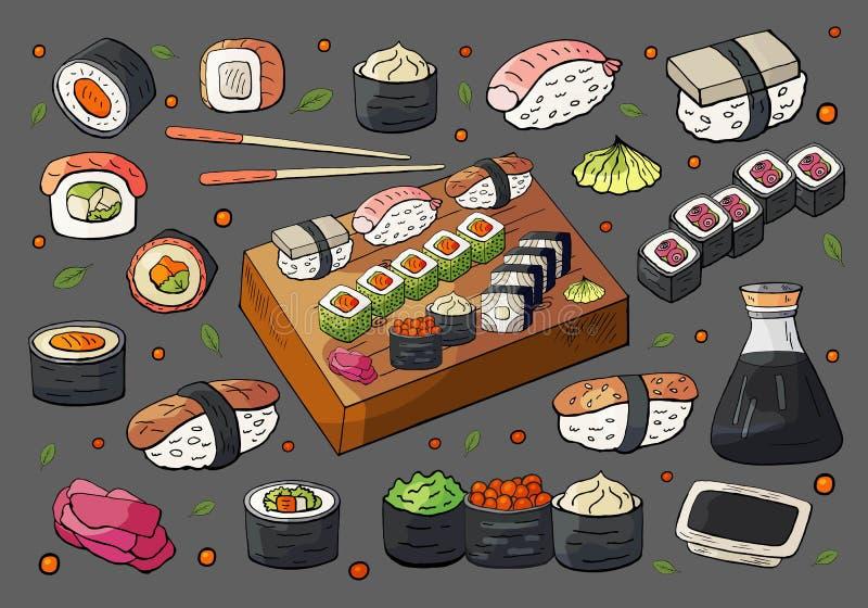 Handgezogene Japan-Sushi- und -rollensätze Große Sushi- und Rollensammlung des Vektors stock abbildung
