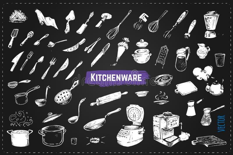 Handgezogene Küche utencils Kreidevektorikonen lizenzfreie abbildung