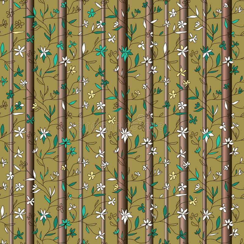 Handgezogene kleine Blumen auf Niederlassungen mit Blättern und Baumstämme auf olivgrünem Hintergrund vektor abbildung