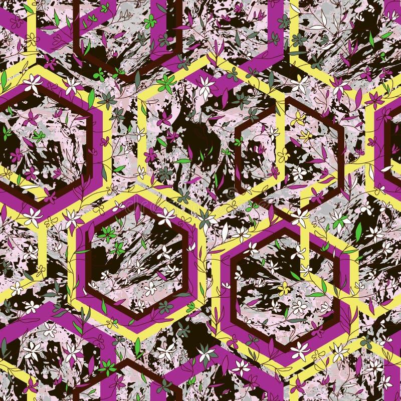 Handgezogene kleine Blumen und -rauten auf strukturiertem Marmorierunghintergrund vektor abbildung