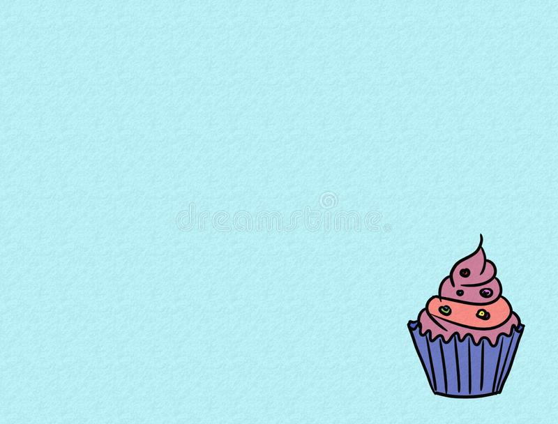 Handgezogene kleine Kuchen auf Farbhintergrund, der süßen Bäckerei benutzt für Tischplattentapete oder Websiteentwurf - Bild stock abbildung