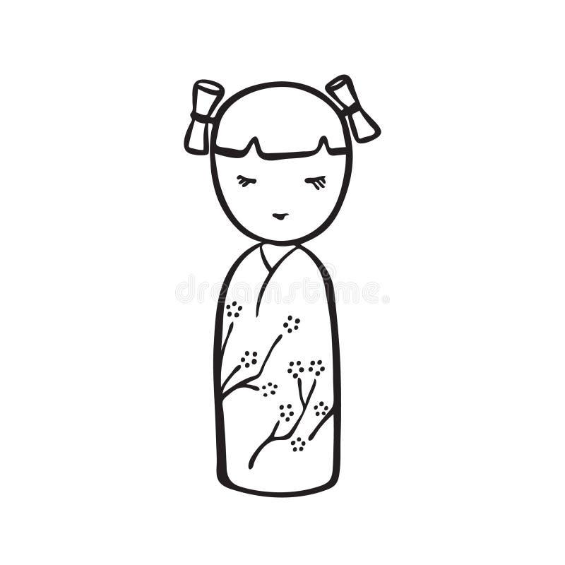 Handgezogene kokeshi Puppe Vektorschwarz-Tintenzeichnung lokalisiert auf wei?em Hintergrund Grafische traditionelle japanische Ze lizenzfreie abbildung