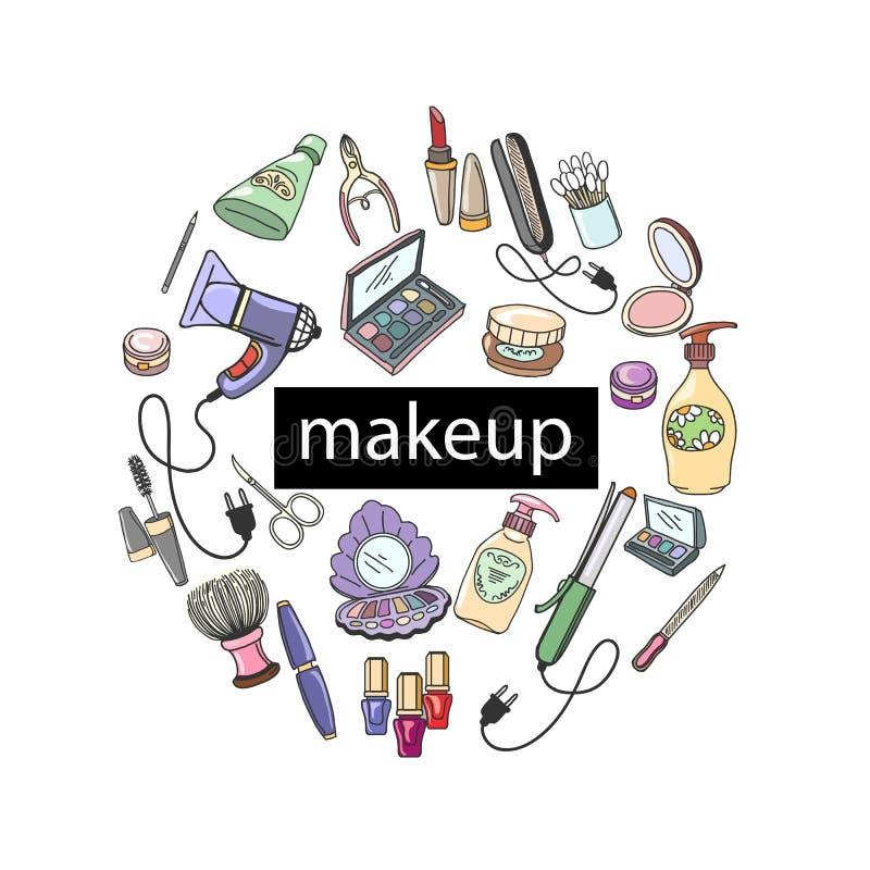 Handgezogene Kosmetik-rundes Konzept lizenzfreie abbildung